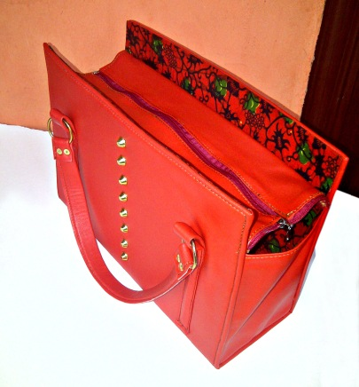 red ankara bag