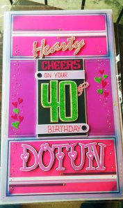 40th Birthday Card with pink and purple theme.